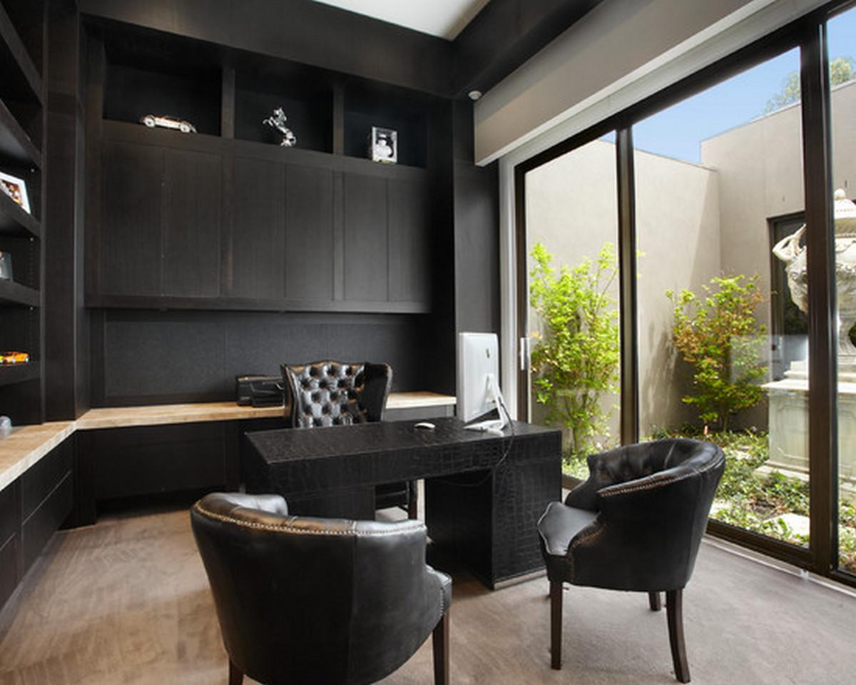 чёрный цвет в интерьере панорамные окна