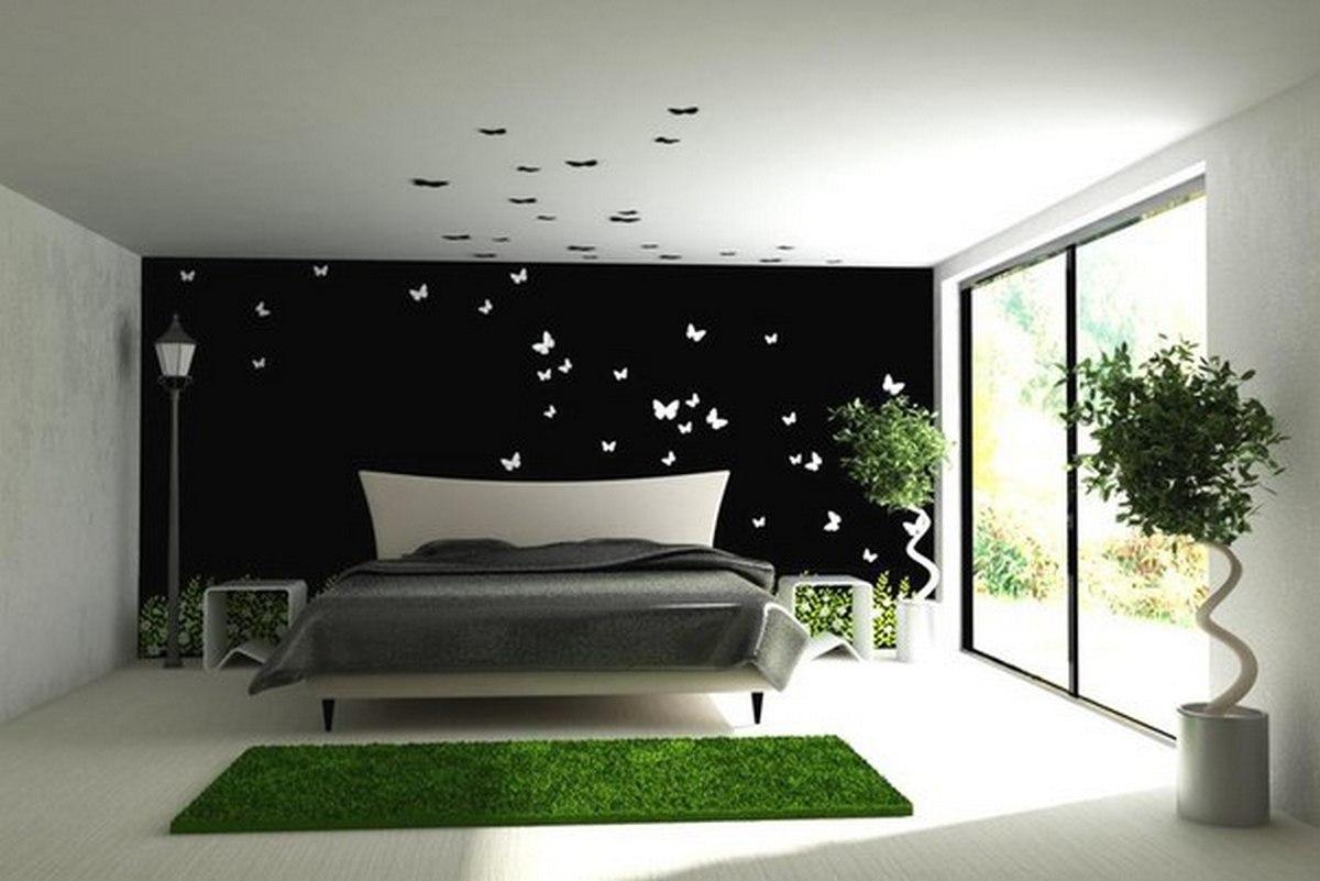 чёрный цвет в интерьере спальни