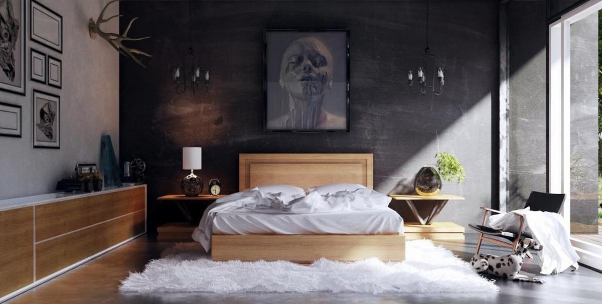 чёрный цвет в интерьере спальни фото пример