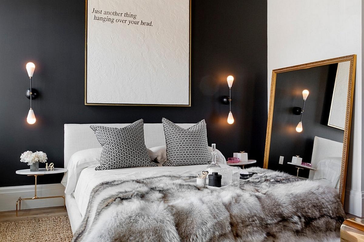 чёрный цвет в интерьере спальни фото скадинавский стиль