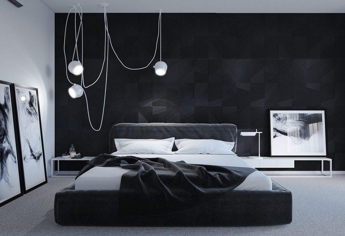 чёрный цвет в интерьере спальни лофт стиль