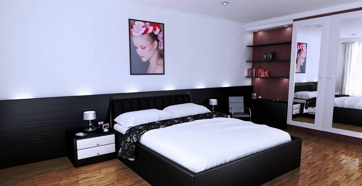 чёрный цвет в интерьере спальни на фото