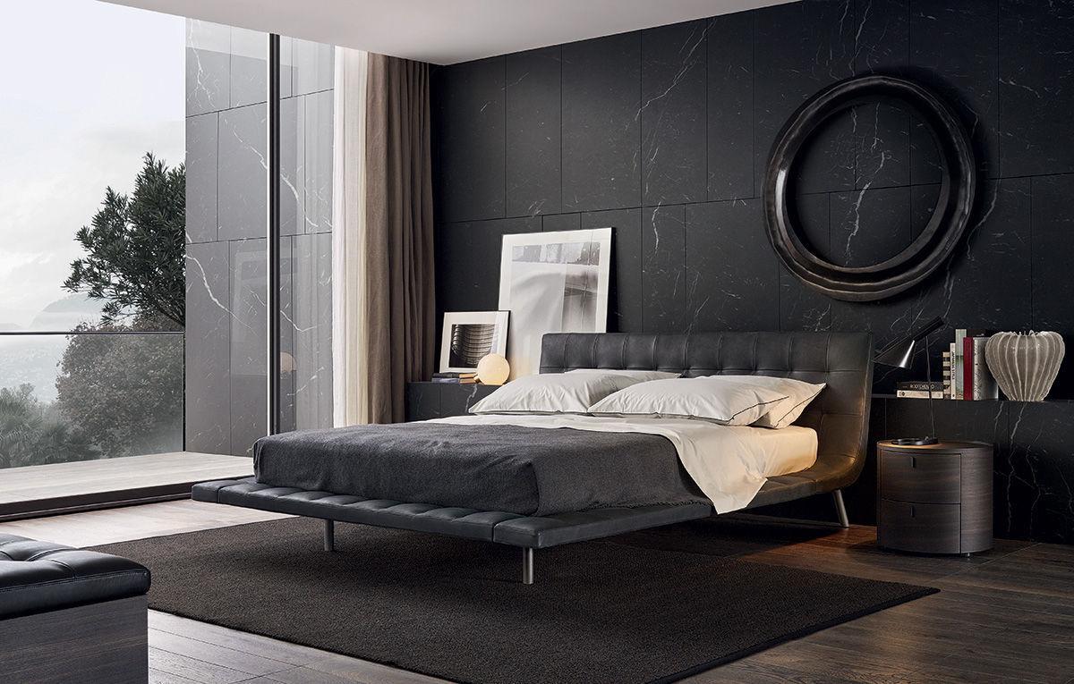 чёрный цвет в интерьере спальни панорамные окна