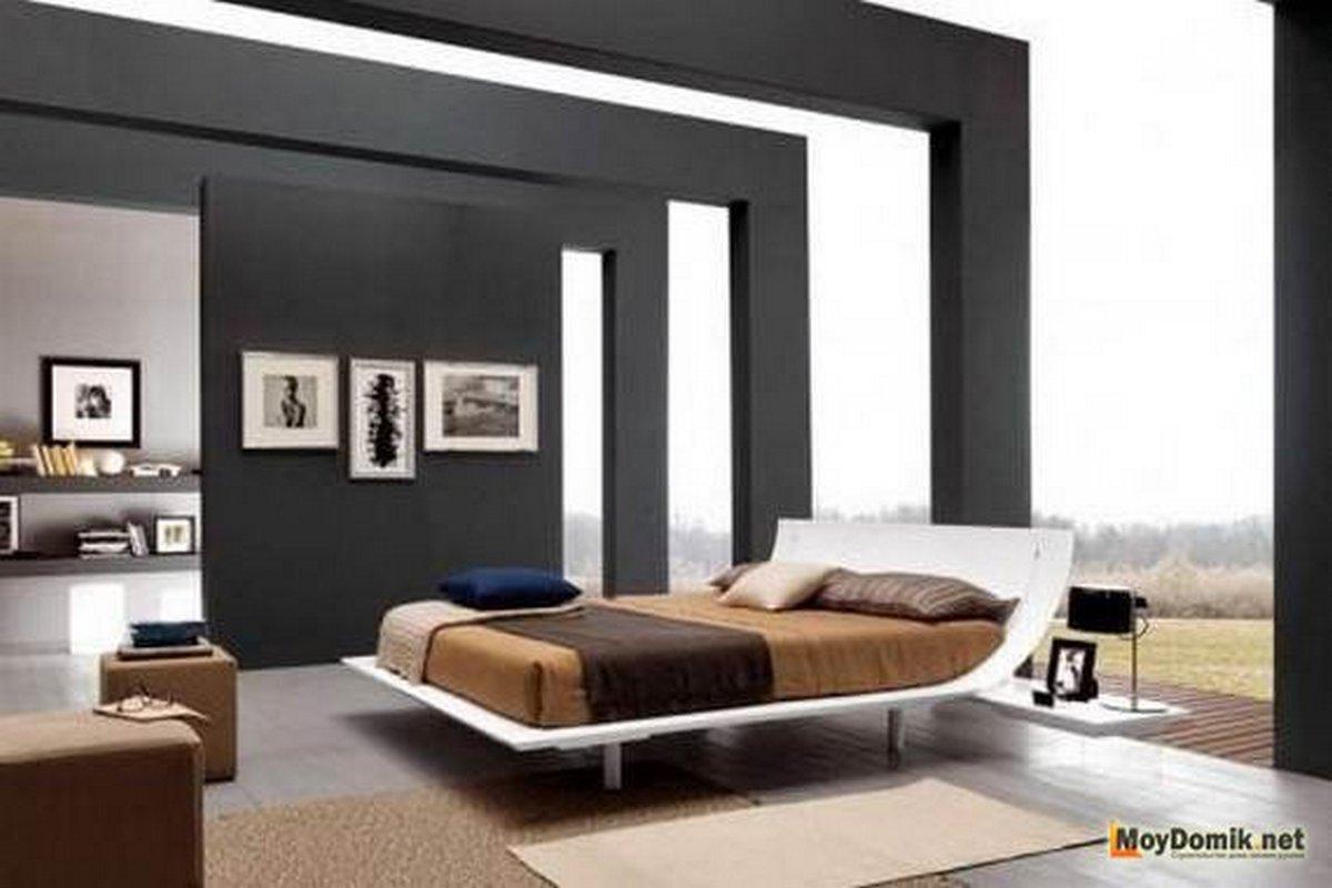чёрный цвет в интерьере спальни прозрачные потолки