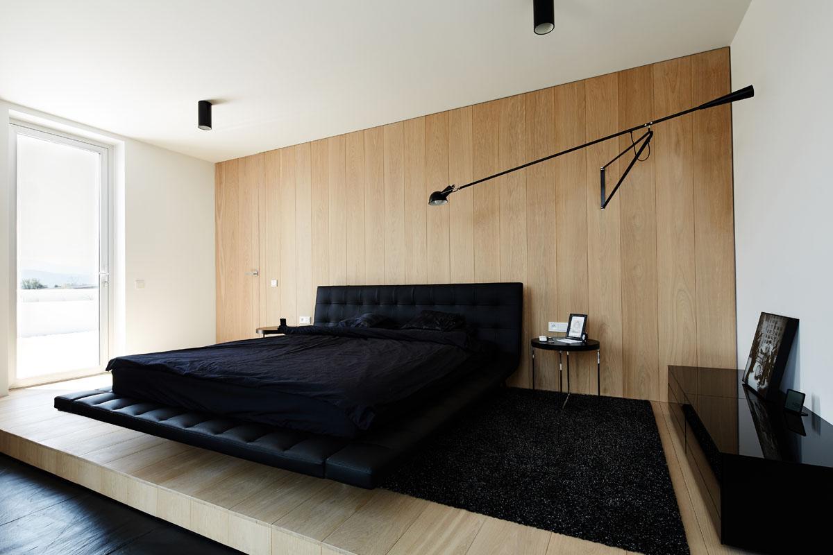 чёрный цвет в интерьере спальни сканди-лофт