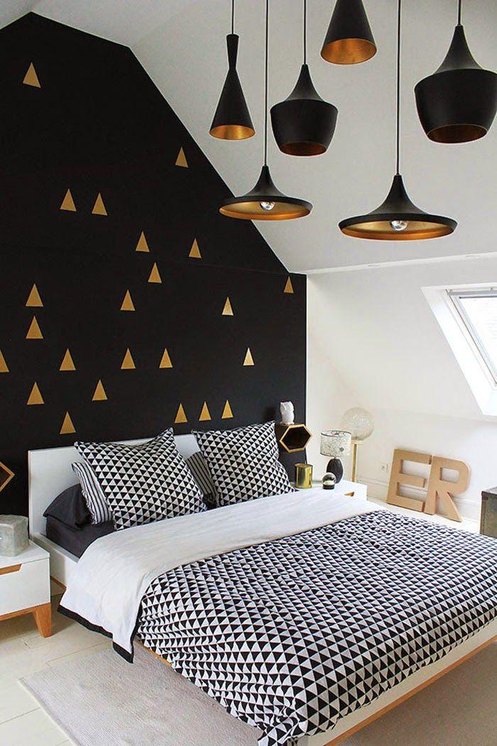 чёрный цвет в интерьере спальни сканди