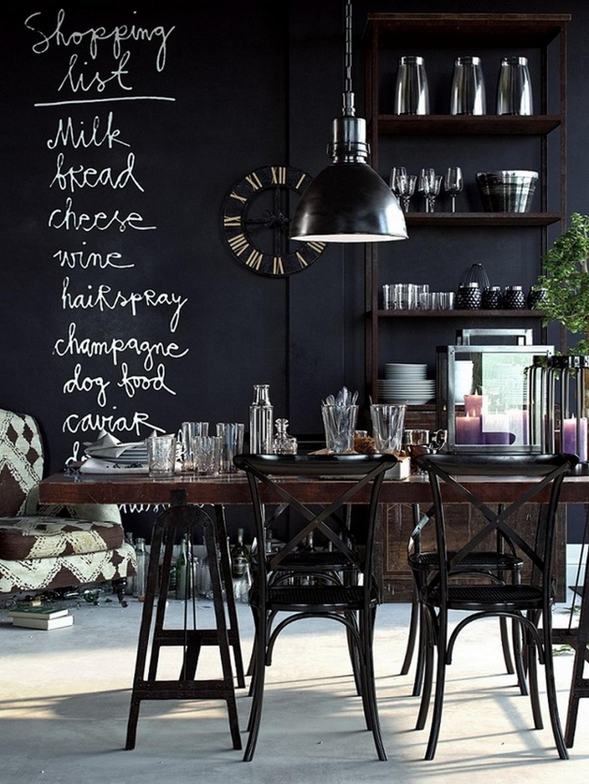 чёрный цвет в интерьере стены