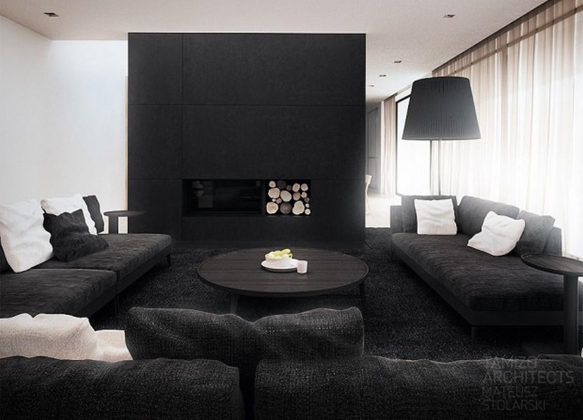 чёрный цвет в интерьере светлой комнаты