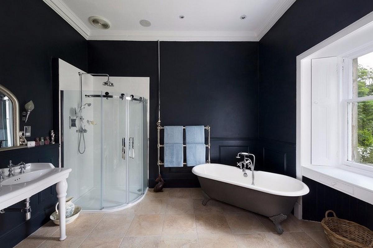 чёрный цвет в интерьере ванной