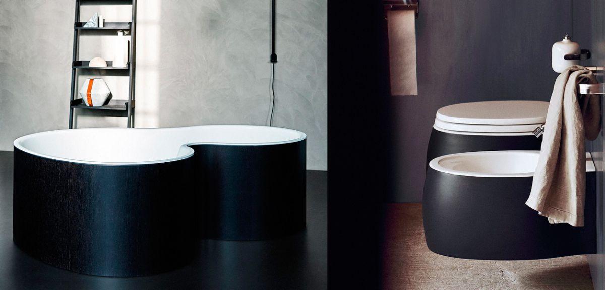 чёрный цвет в интерьере ванной комнаты красивый