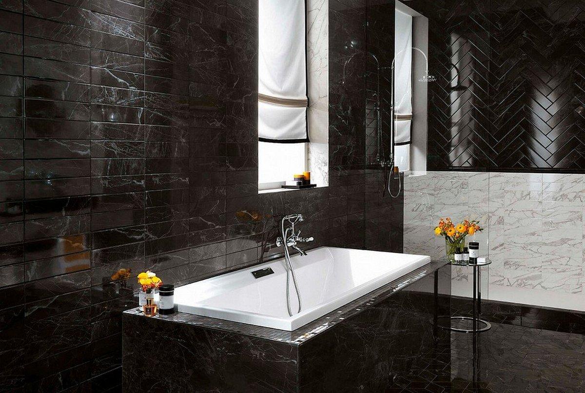 чёрный цвет в интерьере ванной комнаты на фото