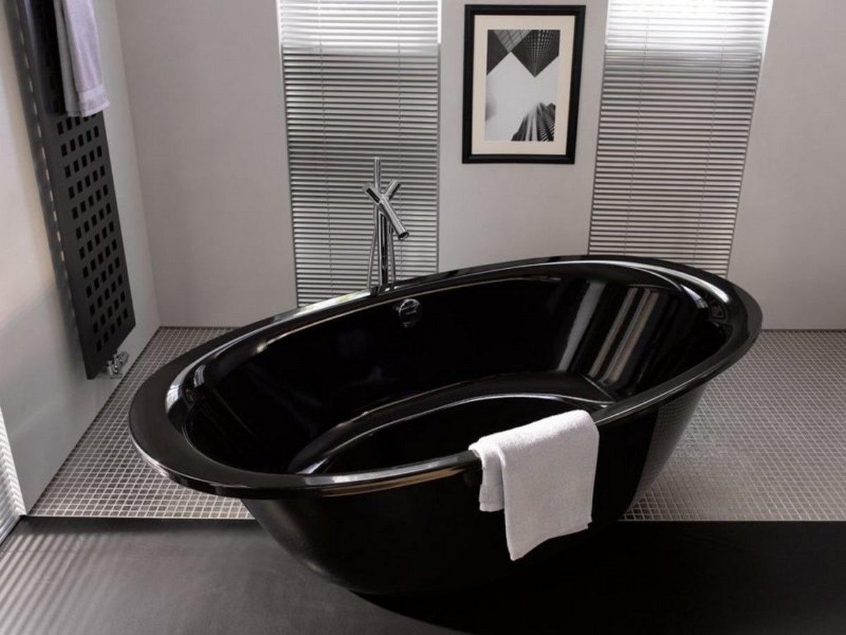 чёрный цвет в интерьере ванной комнаты пример