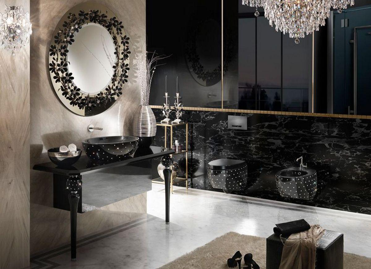 чёрный цвет в интерьере ванной комнаты с примерами на фото