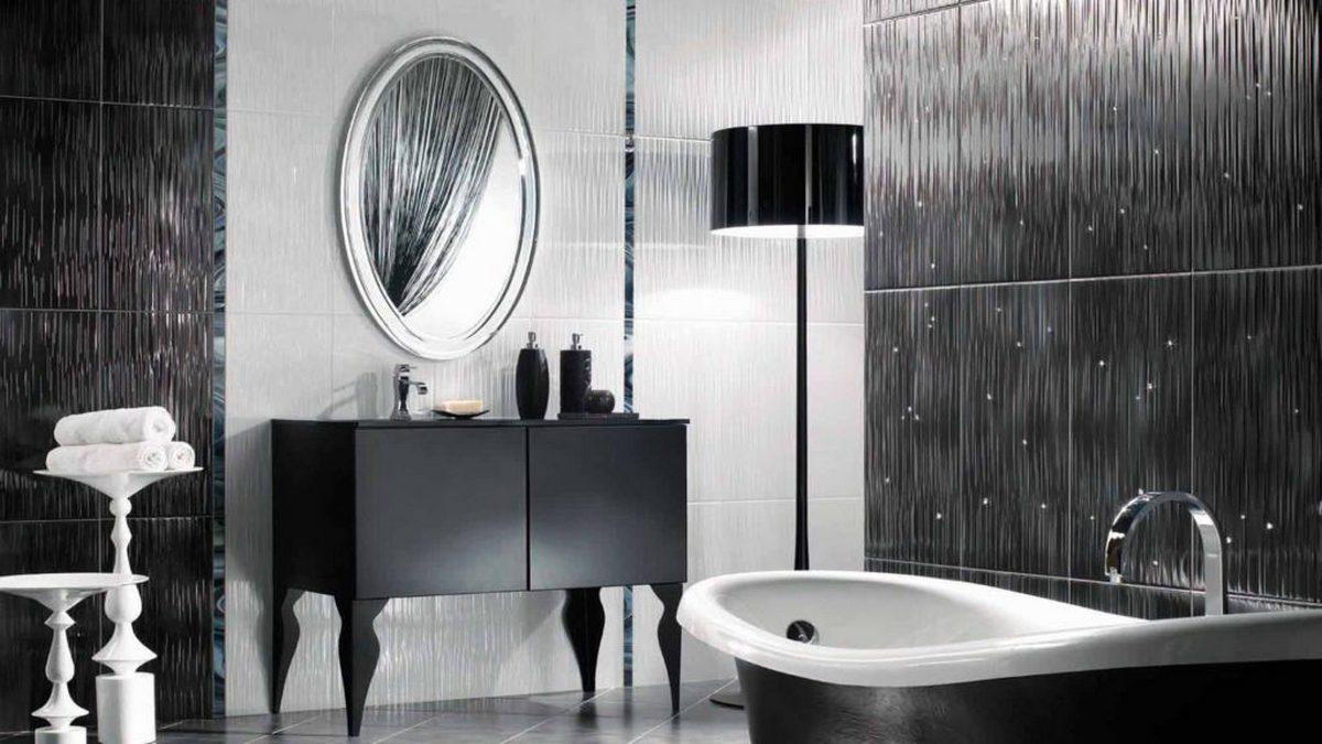 чёрный цвет в интерьере ванной комнаты с зеркалом