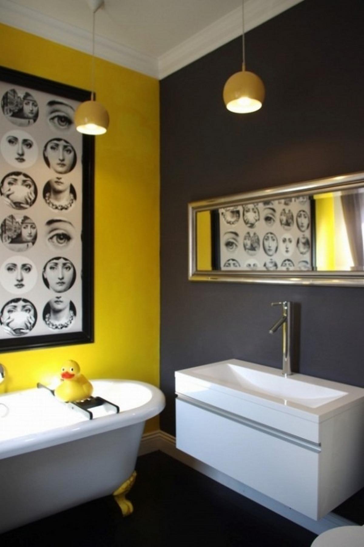 чёрный цвет в интерьере ванной комнаты жёлтый цвет