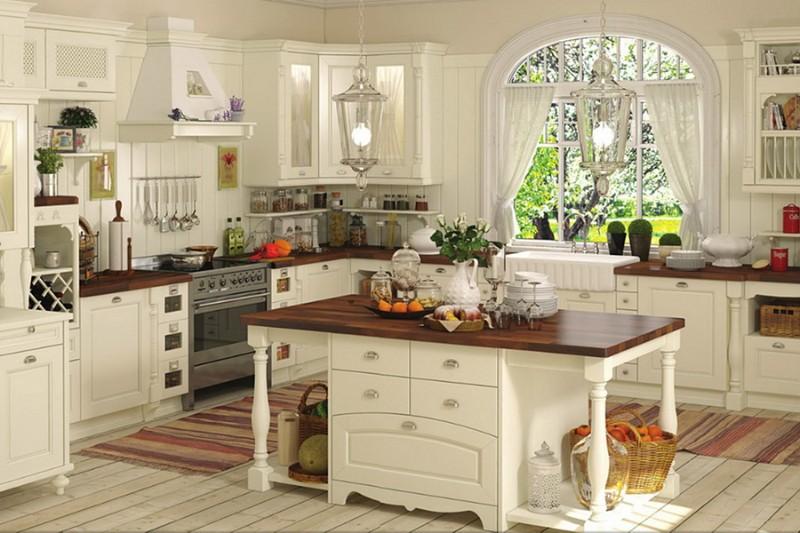 деревянный пол на кухне в стиле прованс