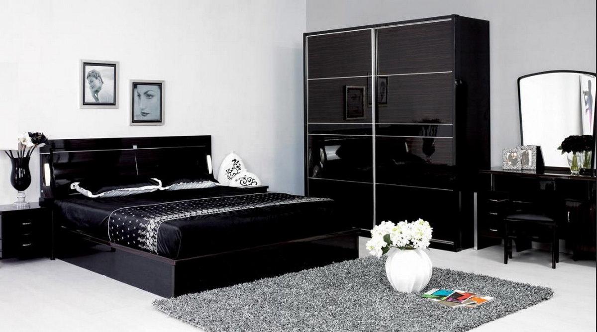 дизайн интерьера спальни в чёрном цвете