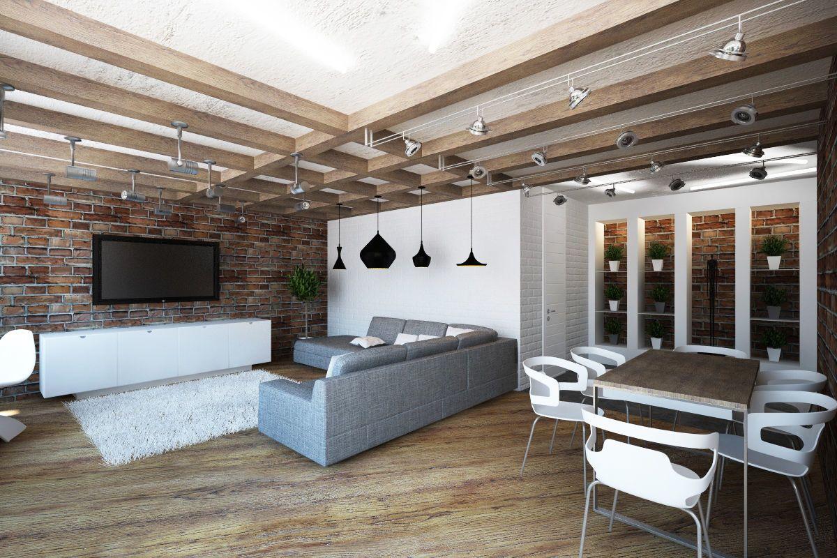 дизайн большой гостиной в стиле лофт