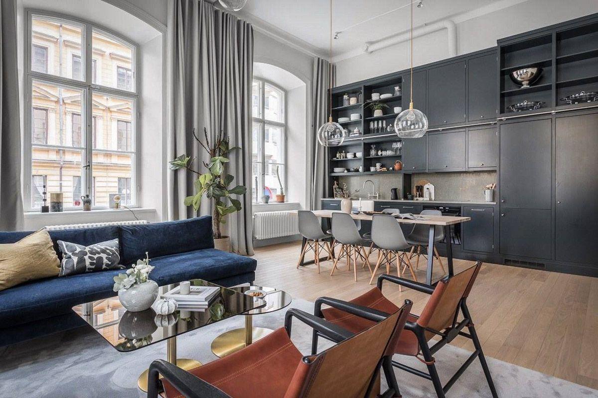 дизайн интерьер дома гостиной совмещённой с кухней