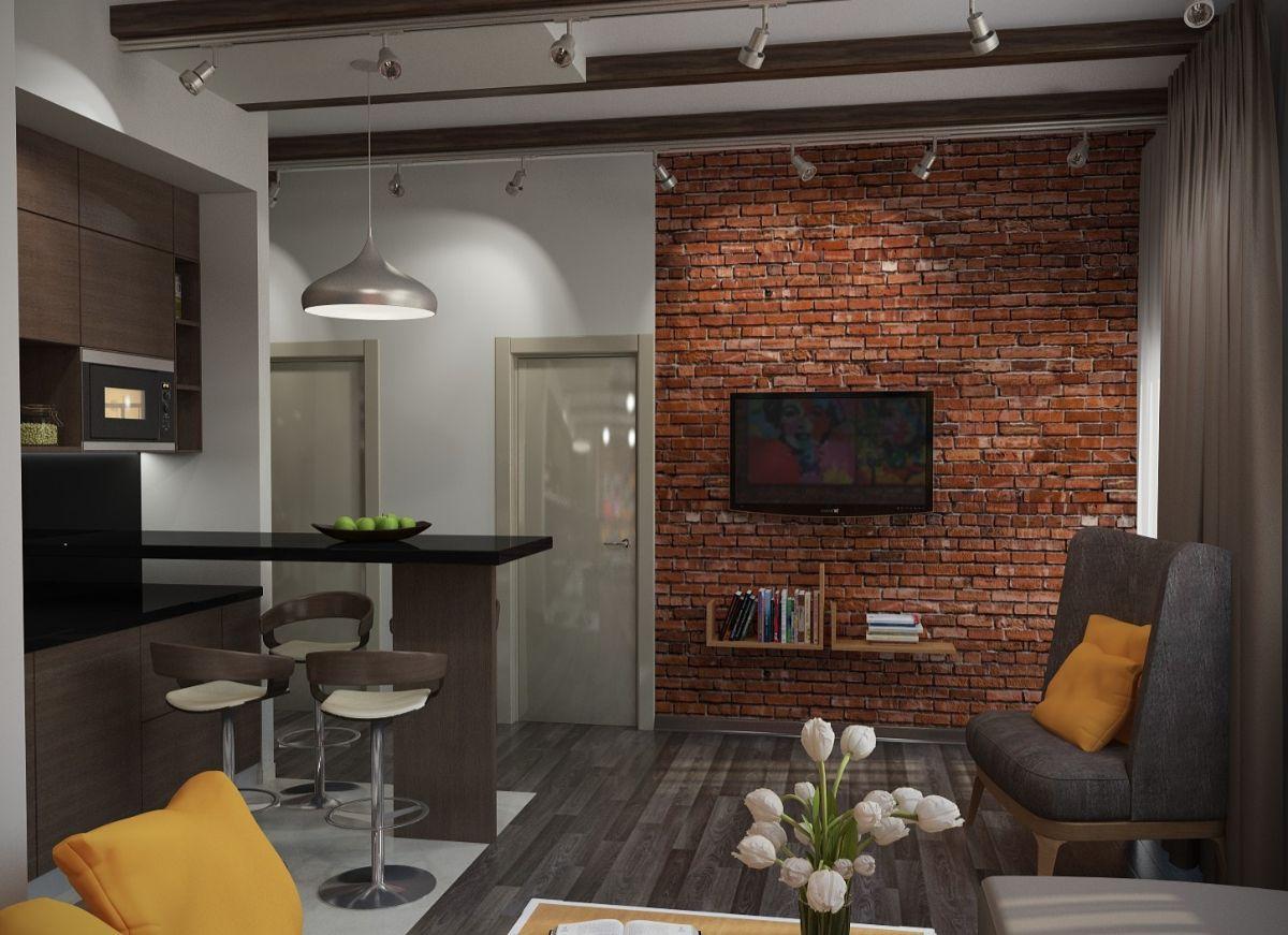 дизайн небольшой гостиной в стиле лофт