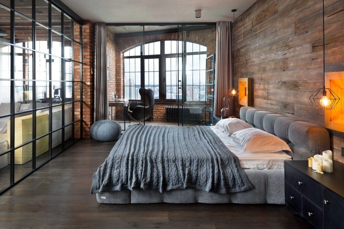дизайн спальни в стиле лофт в коричневых тонах