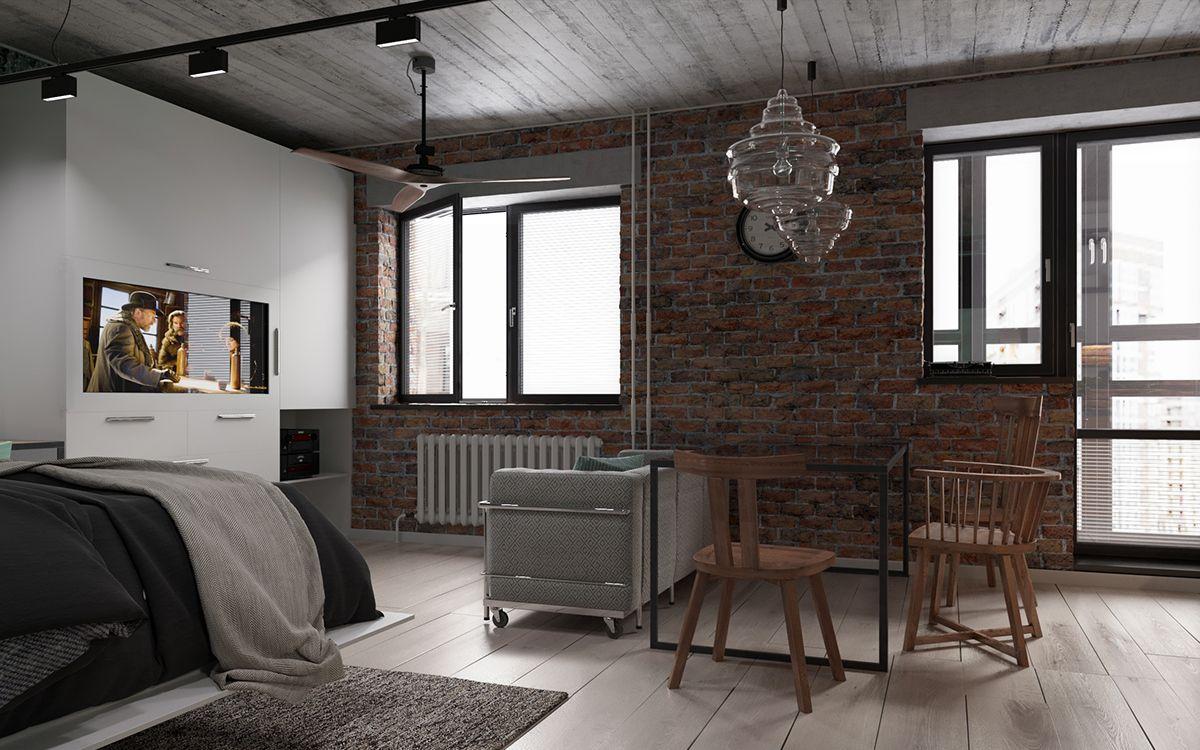 дизайн в стиле лофт в квартире
