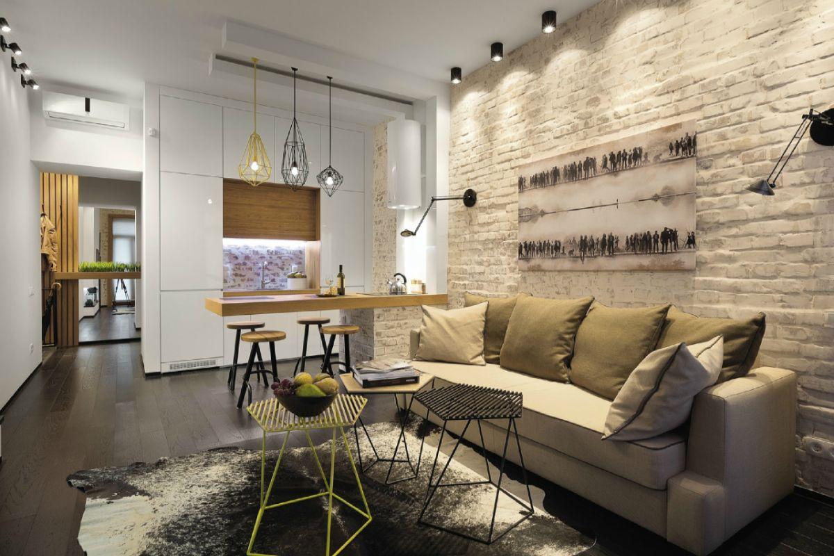 гламурный дизайн в стиле лофт квартира студия