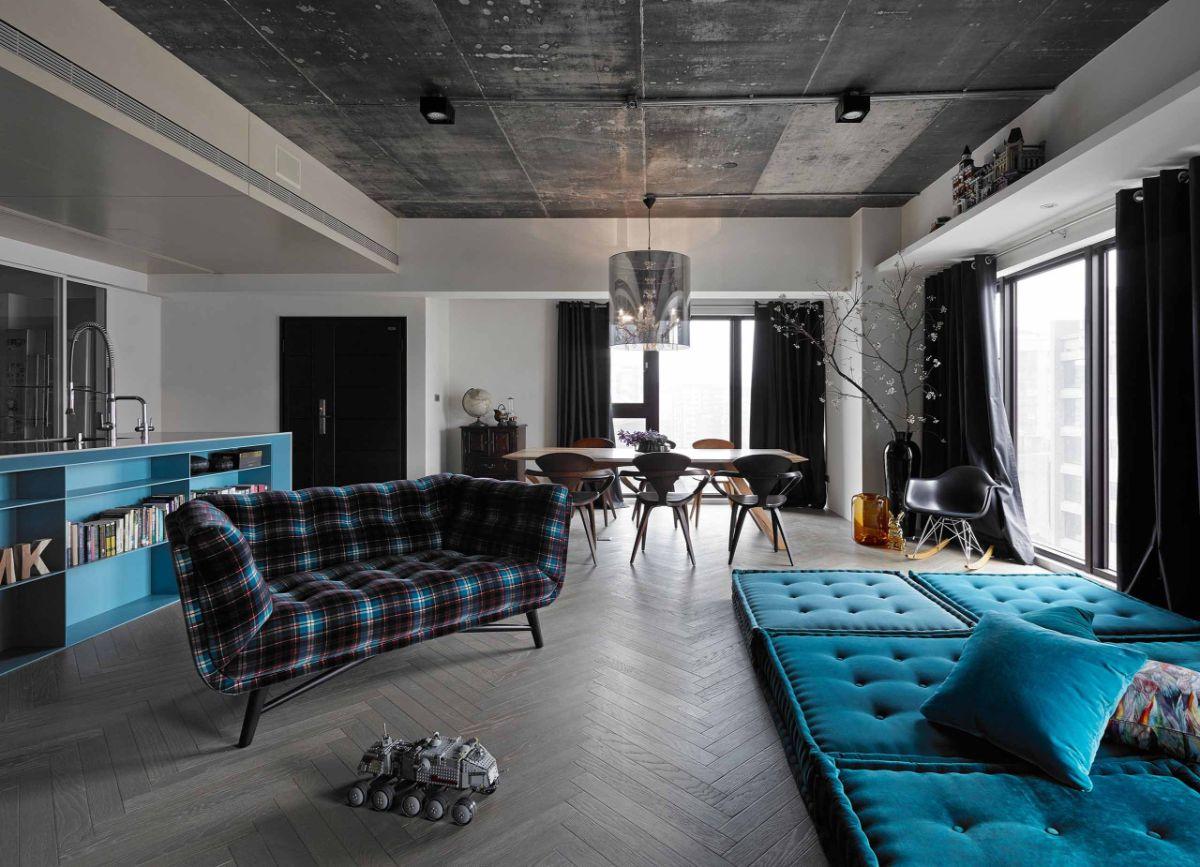 гостиная с бетонным потолком квартира в стиле лофт