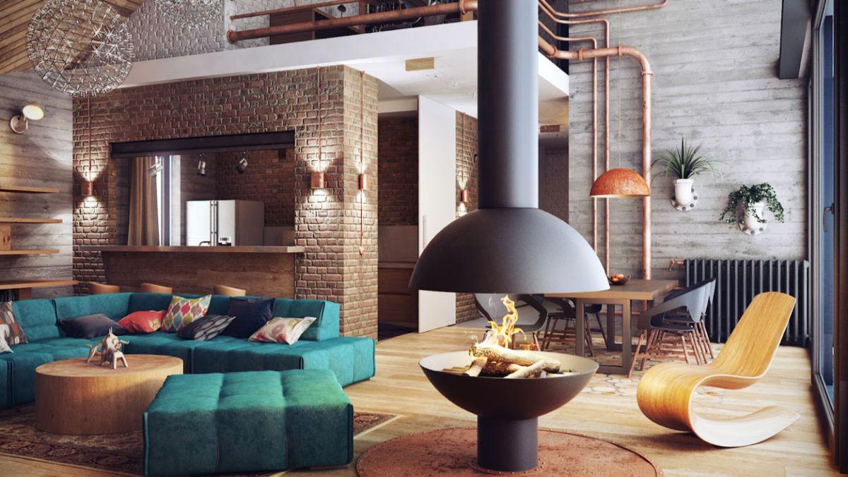 гостиная с камином квартире в стиле лофт