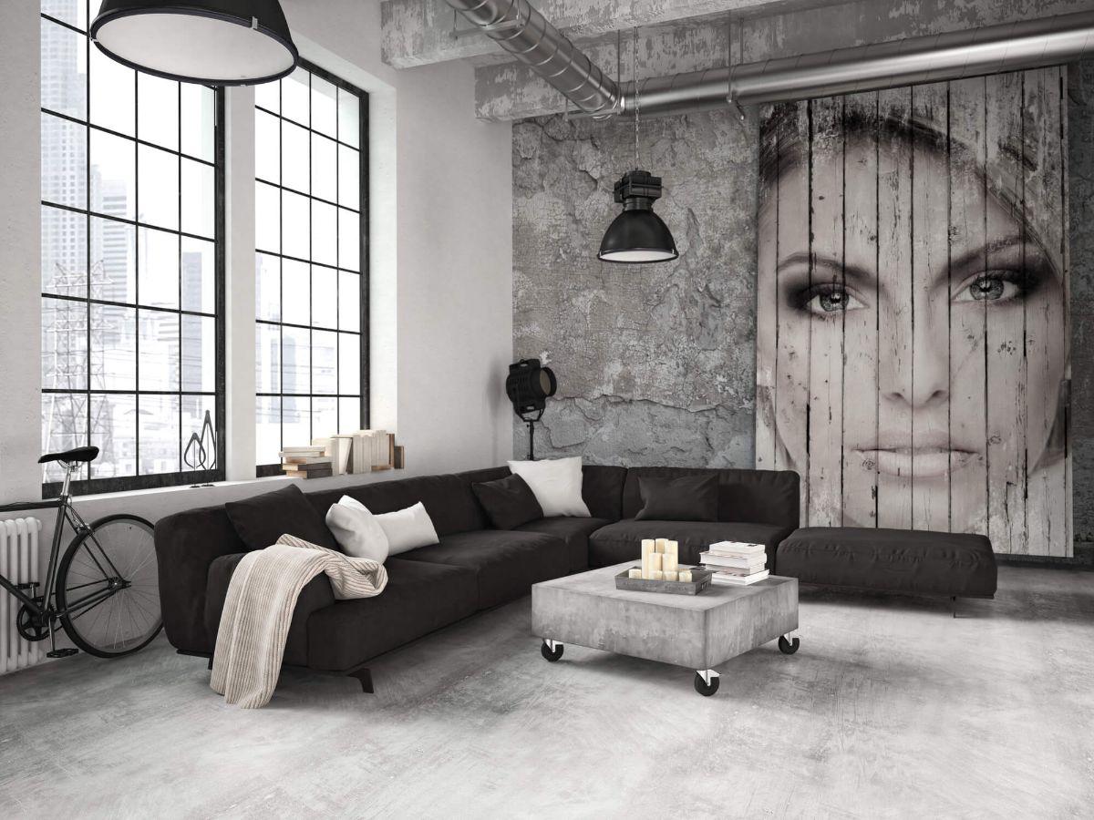 гостиная в серых тонах квартира в стиле лофт