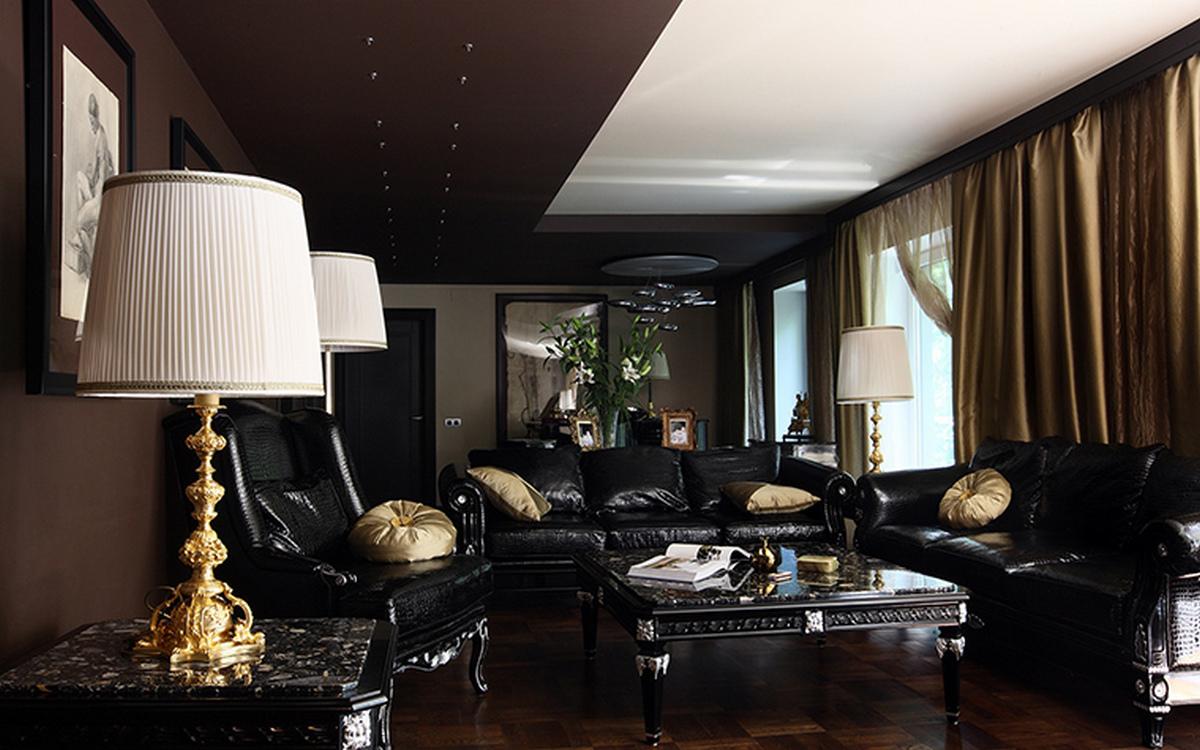 интерьер гостиной в чёрном цвете классика