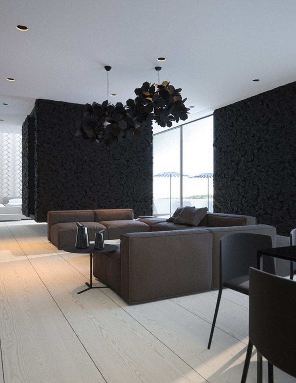интерьер гостиной в чёрном цвете контраст