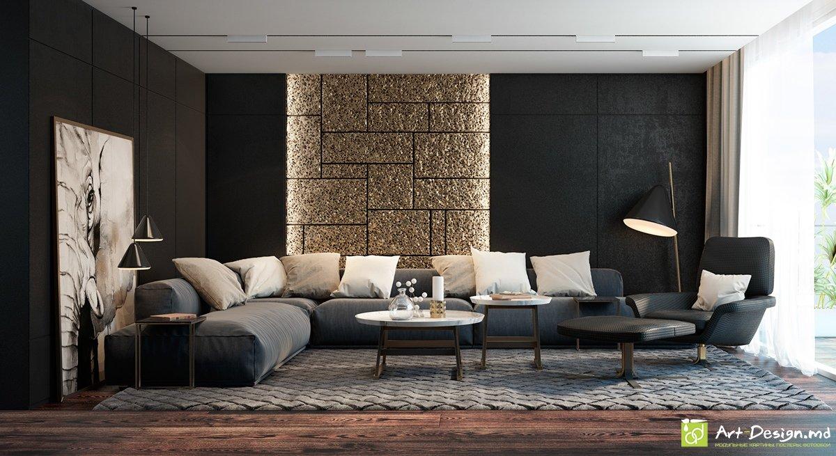 интерьер гостиной в чёрном цвете золотые акценты