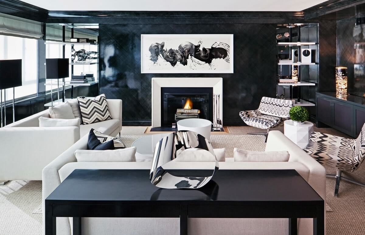 интерьер гостиной в чёрном цвете