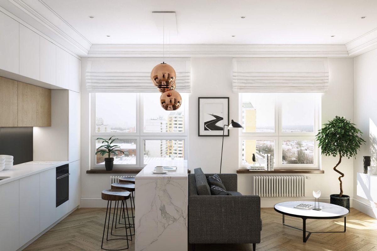 интерьер маленькой квартиры белый цвет как фоновый