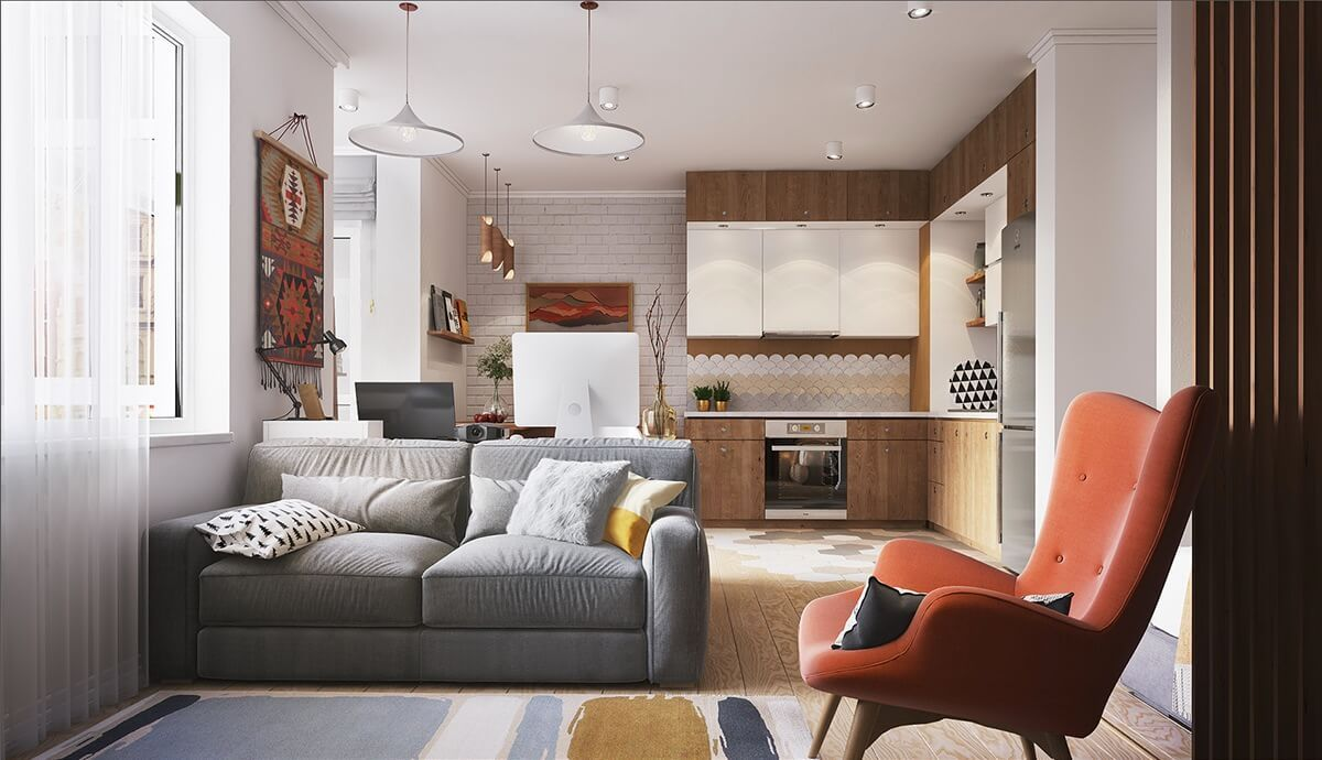 интерьер маленькой квартиры дизайн с кирпичной стеной