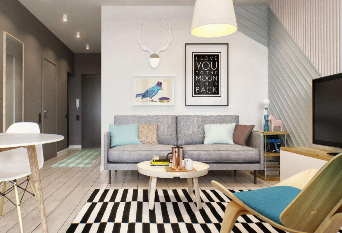 интерьер маленькой квартиры контраст серого и белого