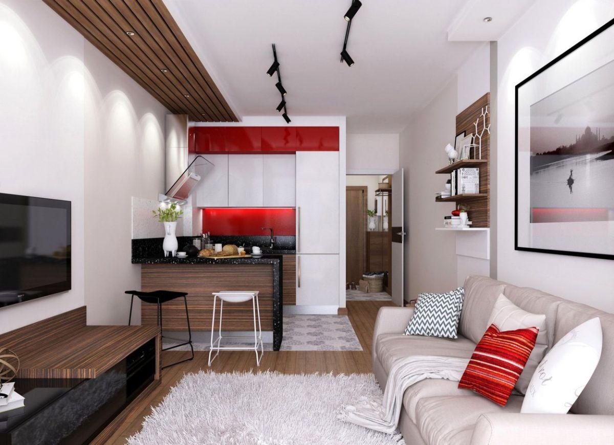 интерьер маленькой квартиры лаконичный дизайн с яркими акцентами