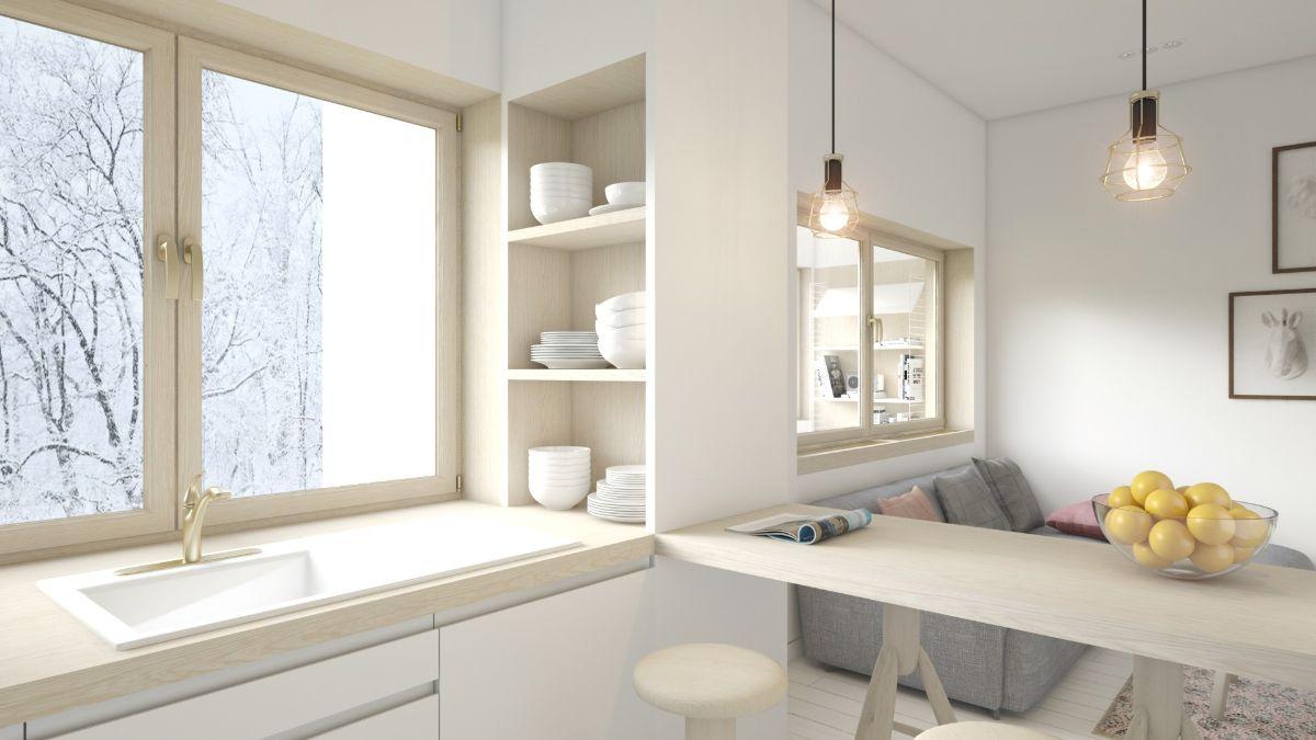 интерьер маленькой квартиры мойка на подоконнике