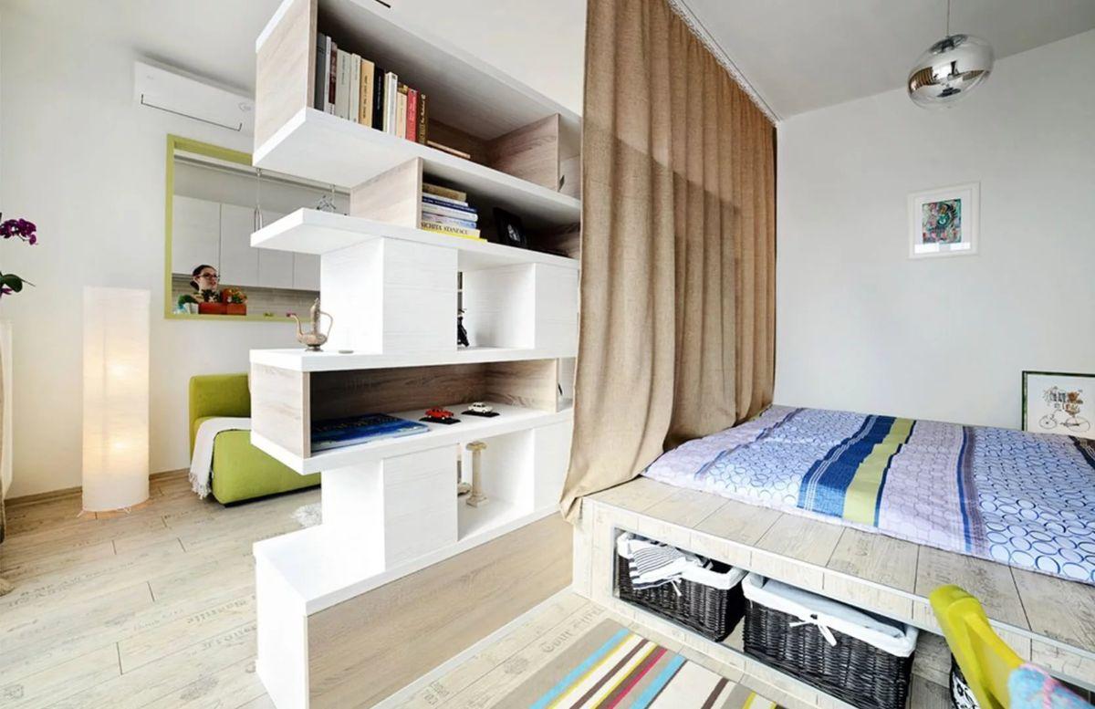 интерьер маленькой квартиры пример зонирования