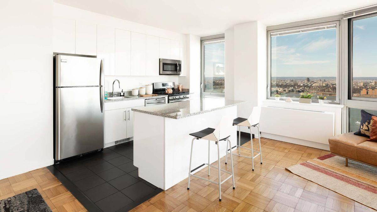 интерьер маленькой квартиры студии белый дизайн в скандинавском стиле