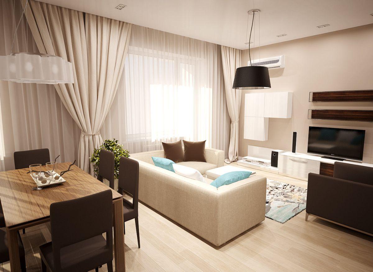 интерьер маленькой квартиры студии бежево-коричневый дизайн