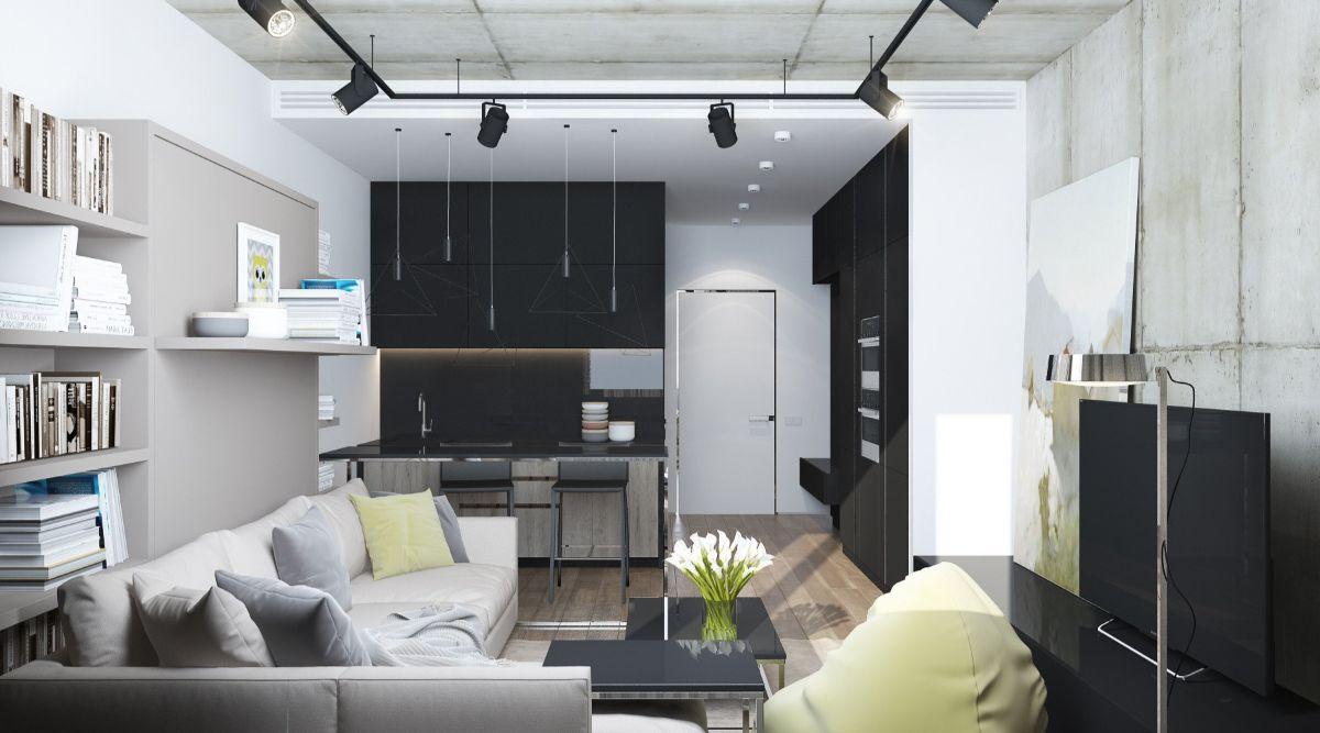 интерьер маленькой квартиры студии чёрно-белый дизайн