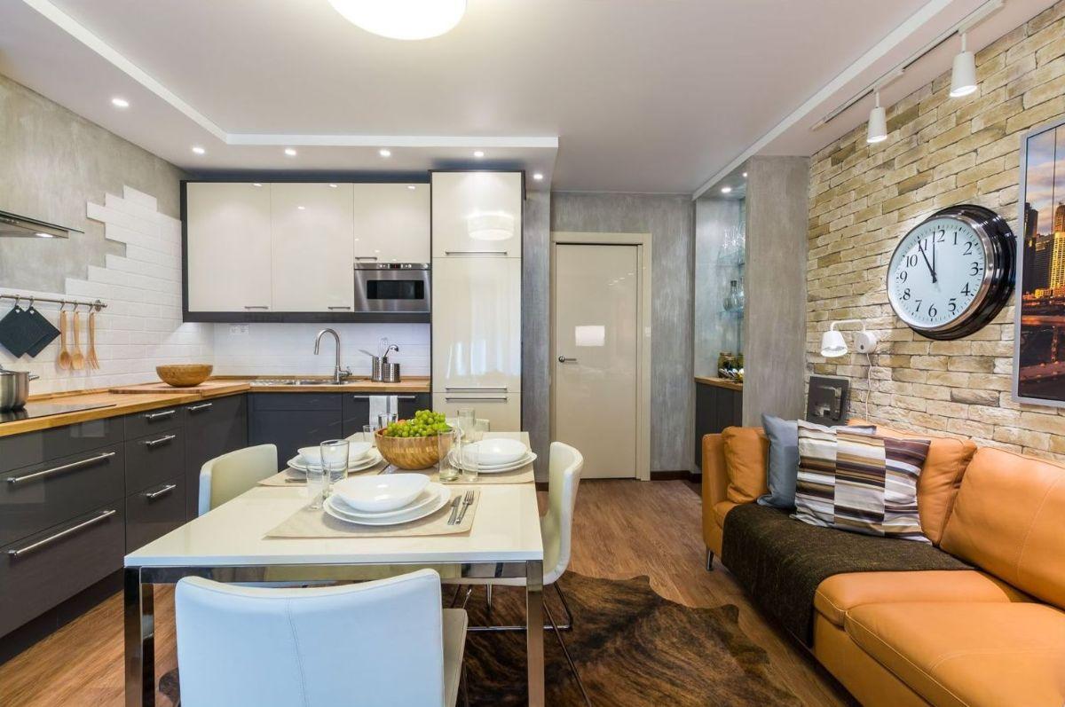 интерьер маленькой квартиры студии дизайн с элементами лофта
