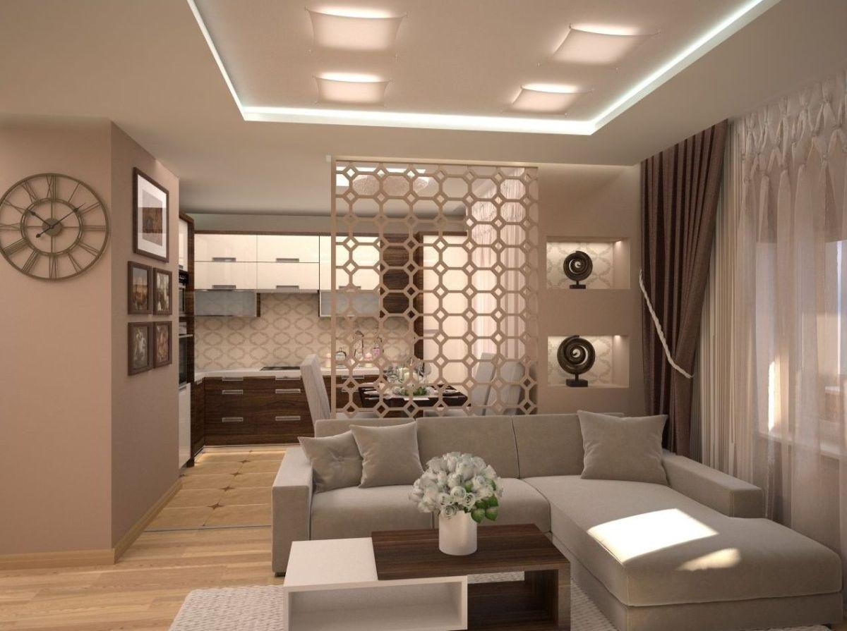 интерьер маленькой квартиры студии дизайн в кофейных тонах