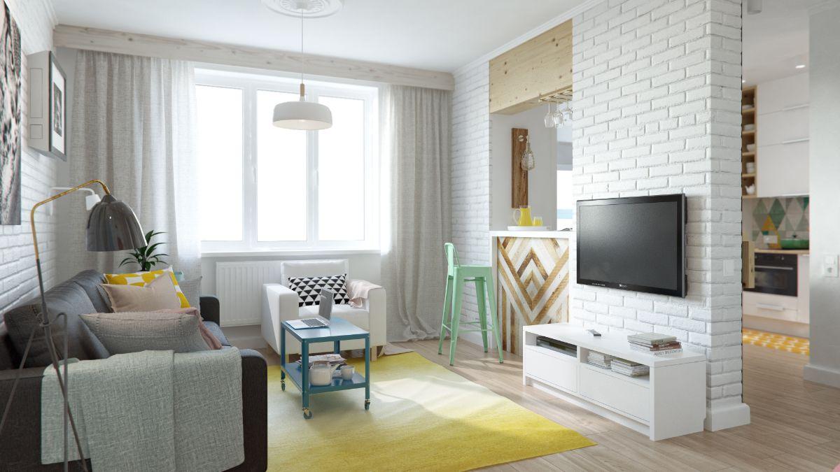 интерьер маленькой квартиры студии кирпичная перегородка