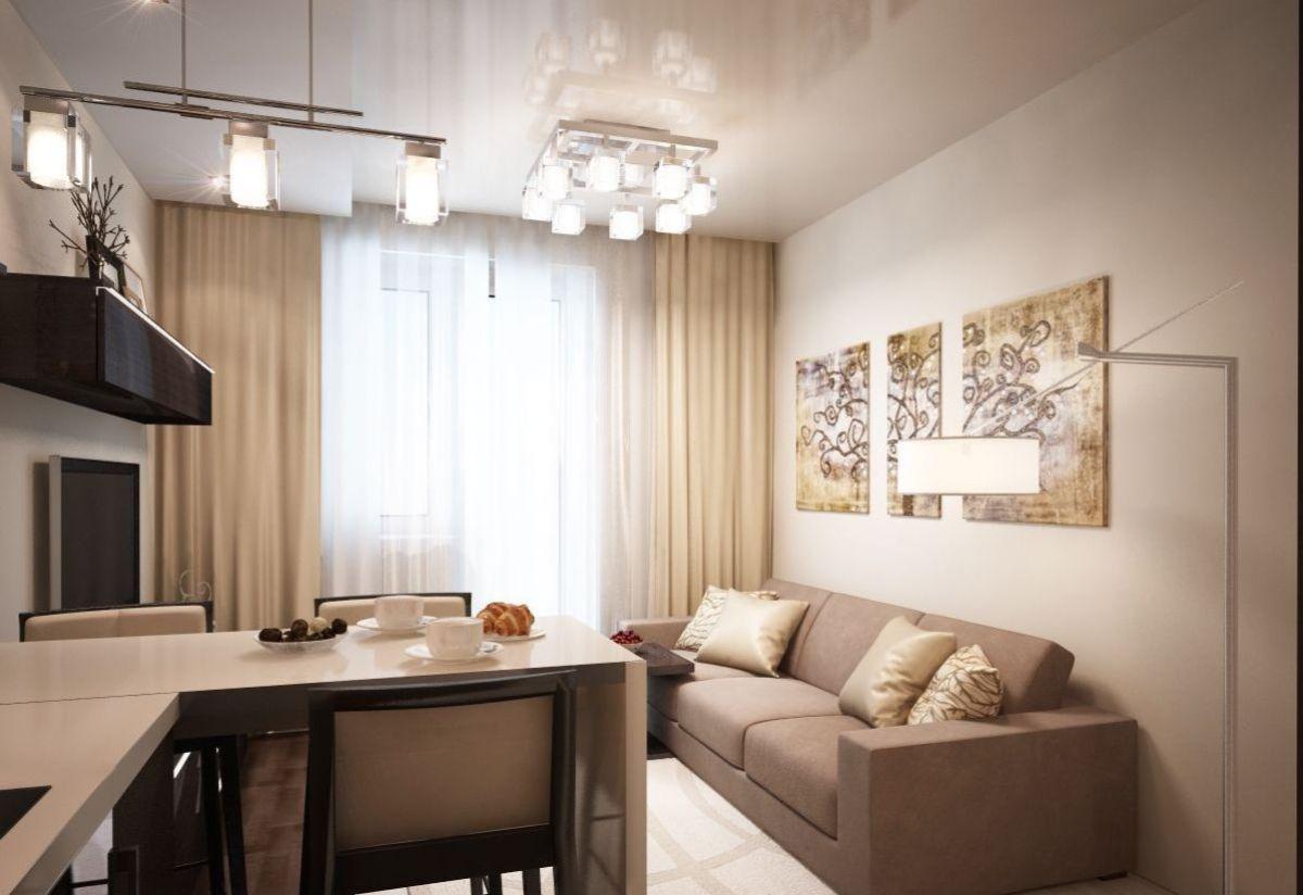 интерьер маленькой квартиры студии кофейный дизайн