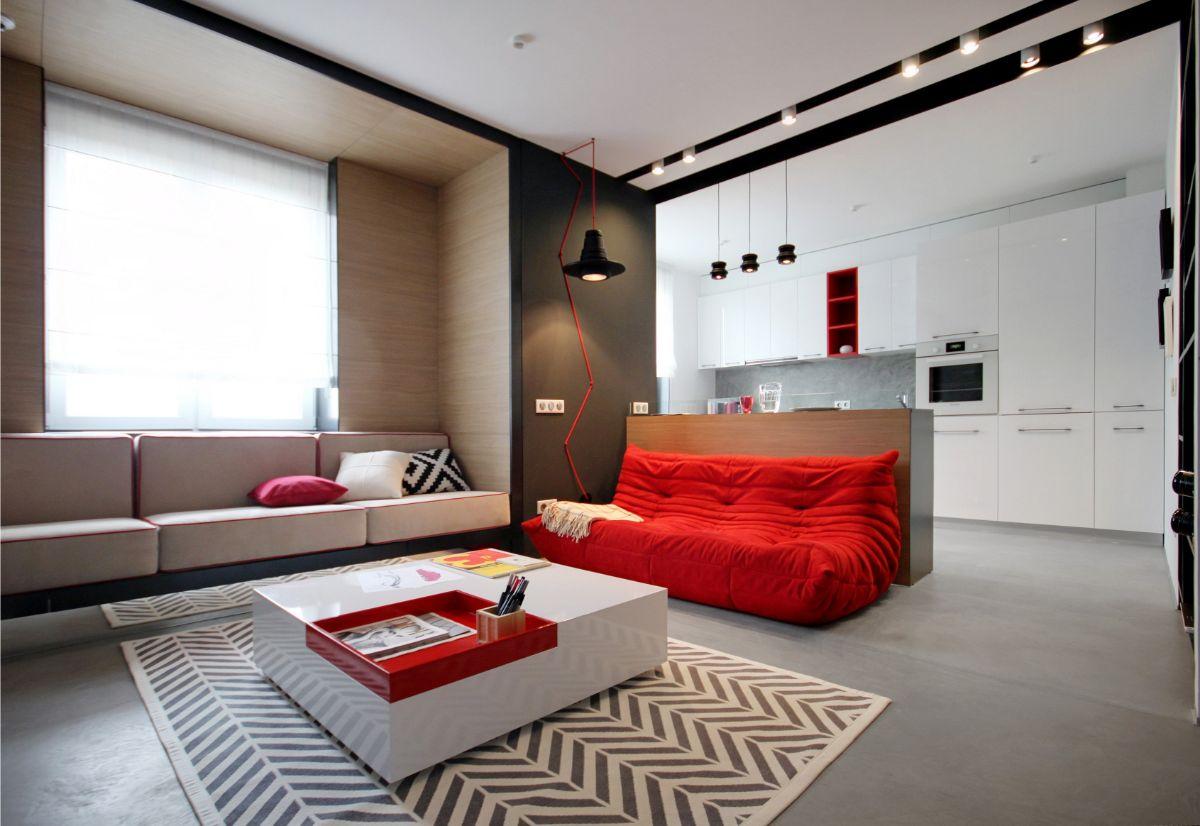 интерьер маленькой квартиры студи модный дизайн
