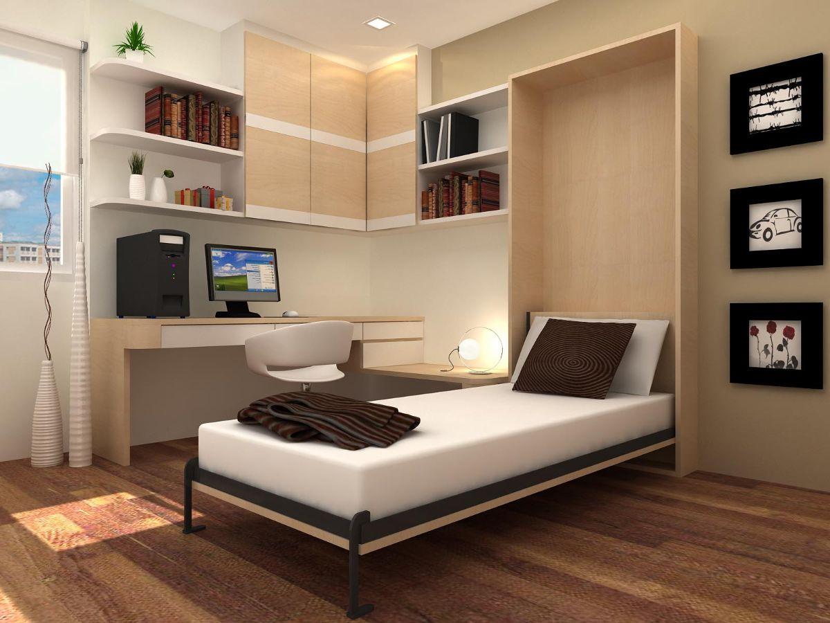 интерьер маленькой квартиры студии откидная кровать в дизайне