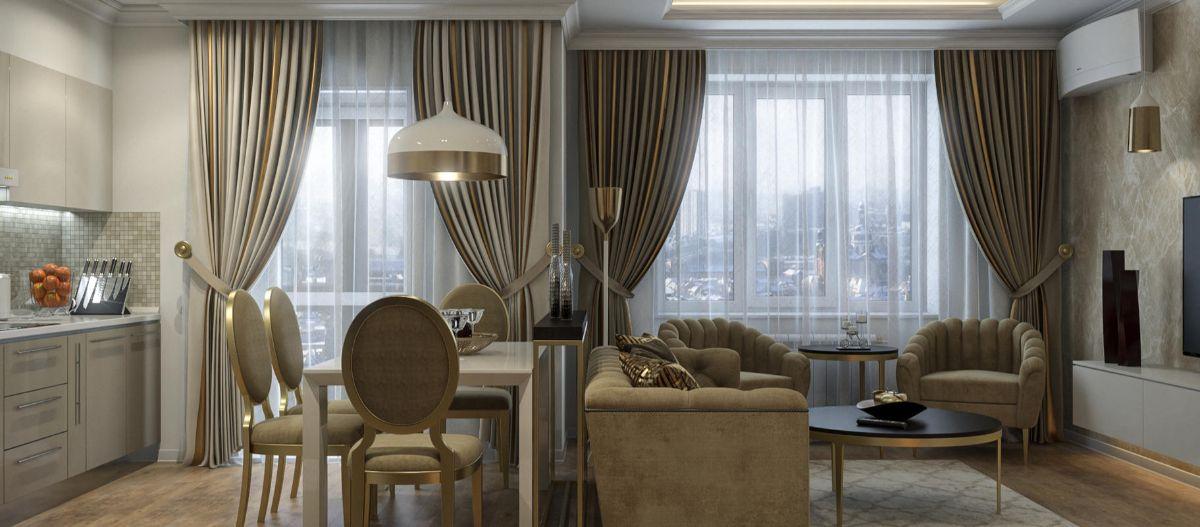 интерьер маленькой квартиры студии пример классического дизайна